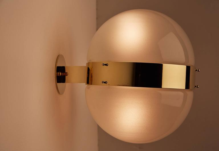 """Eight Glass and Brass """"Clio"""" Wall or Ceiling Lights by Sergio Mazza 3"""
