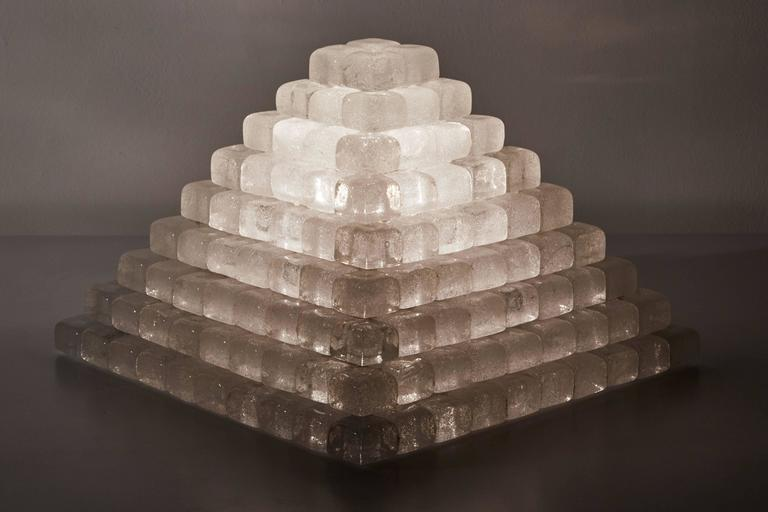 Glass Pyramid Table Lamp in the style of Poliarte 2