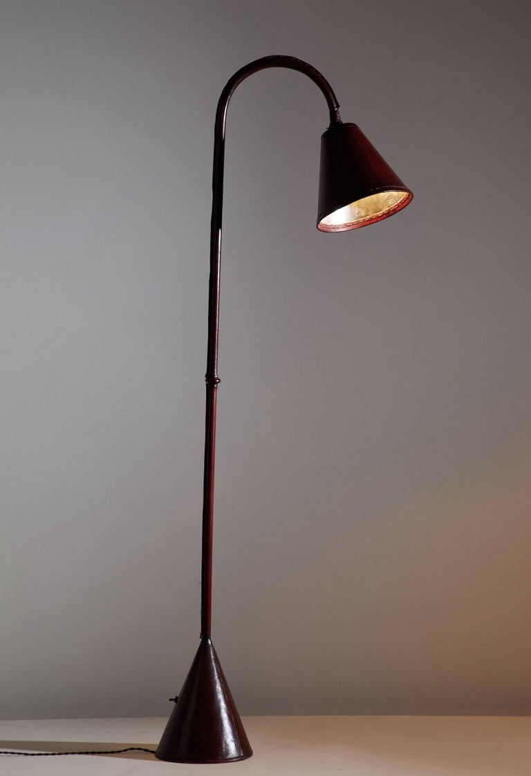 Mid-Century Modern Leather Wrapped Floor Lamp by Jacques Adnet For Sale