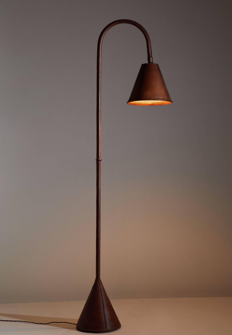 Leather Wrapped Floor Lamp by Jacques Adnet 2