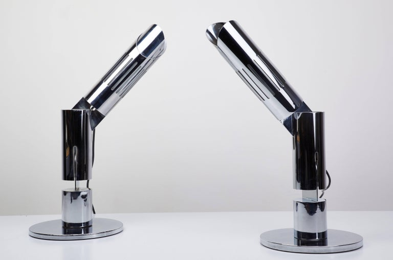 Plated Pair of Table Lamps by Gabriel D'ali for Franseconi For Sale
