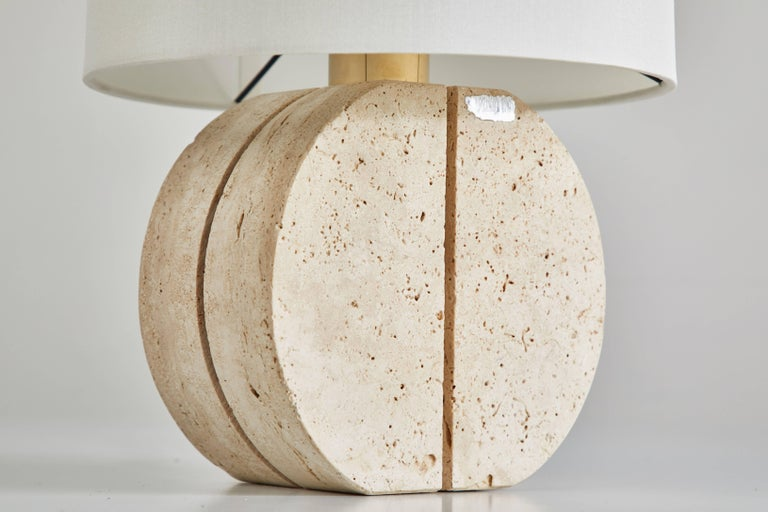 Carved Italian Travertine Table Lamp For Sale