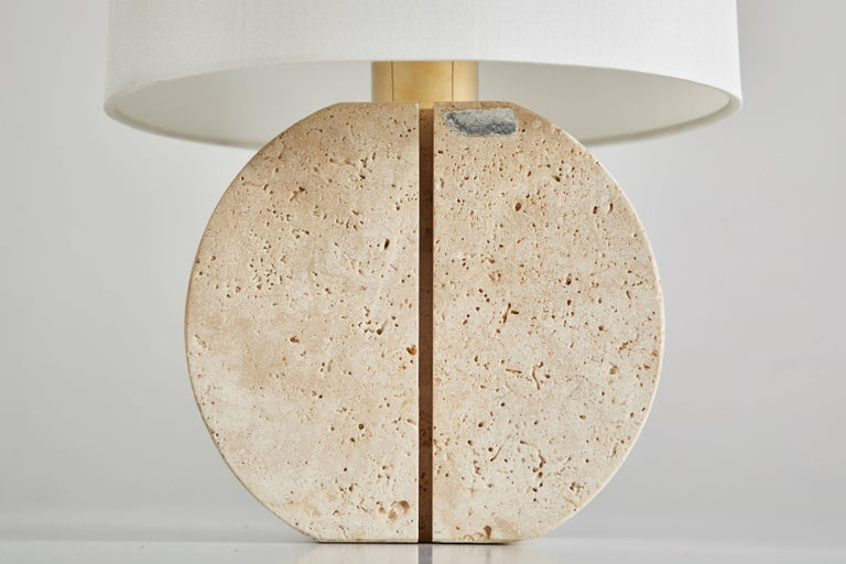 Italian Travertine Table Lamp In Good Condition For Sale In Los Angeles, CA