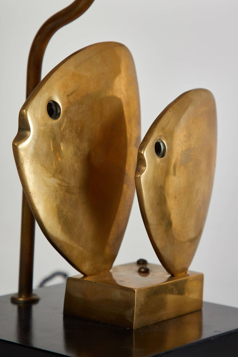 Brass Pair of French Table Lamps For Sale