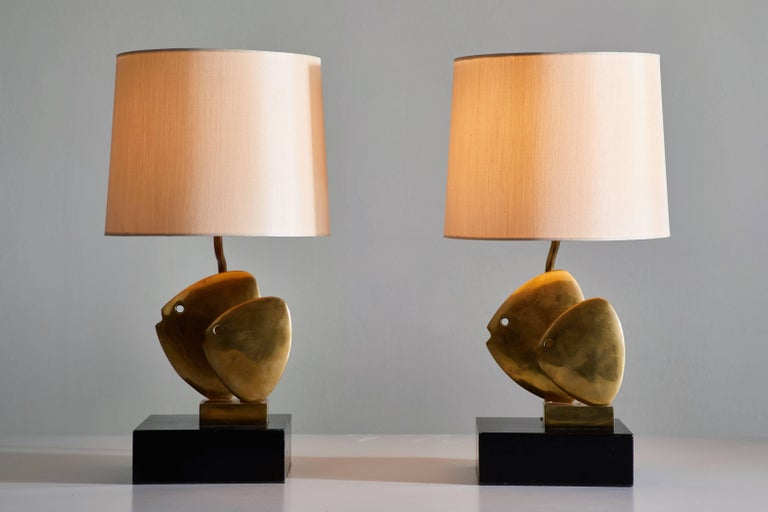 Mid-Century Modern Pair of French Table Lamps For Sale