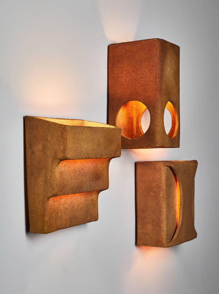 Three French Ceramic Wall Lights Attributed to  Guy Bareff In Good Condition For Sale In Los Angeles, CA