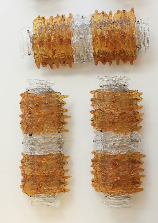 pair of Italian Murano Glass wall Sconces in Amber 1960's