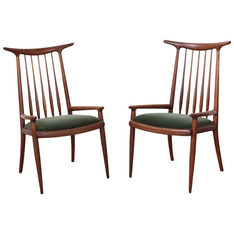 Marvelous Pair Of Sam Maloof Horn Back Chairs 1