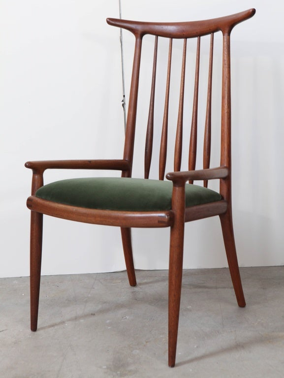 Pair of Sam Maloof horn back chairs with carved walnut and velvet upholstery 1962, USA