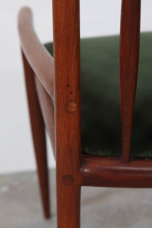 Velvet Pair of Sam Maloof Horn Back Chairs For Sale