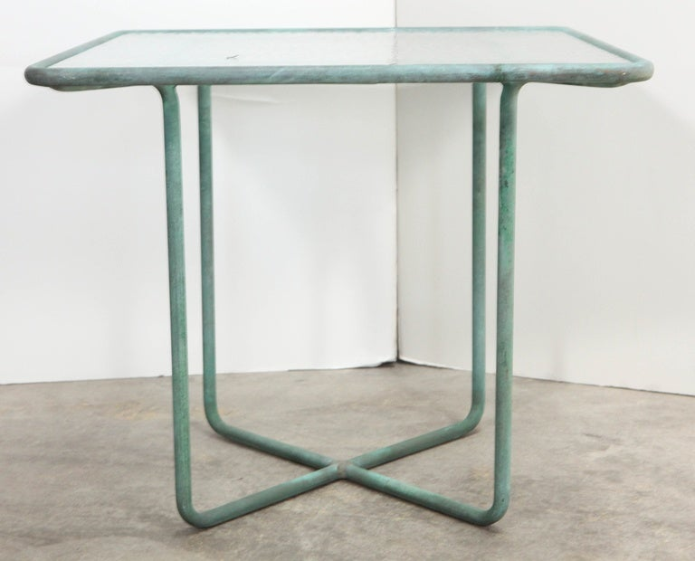 Walter Lamb side table with glass inset top, mid-20th century.
