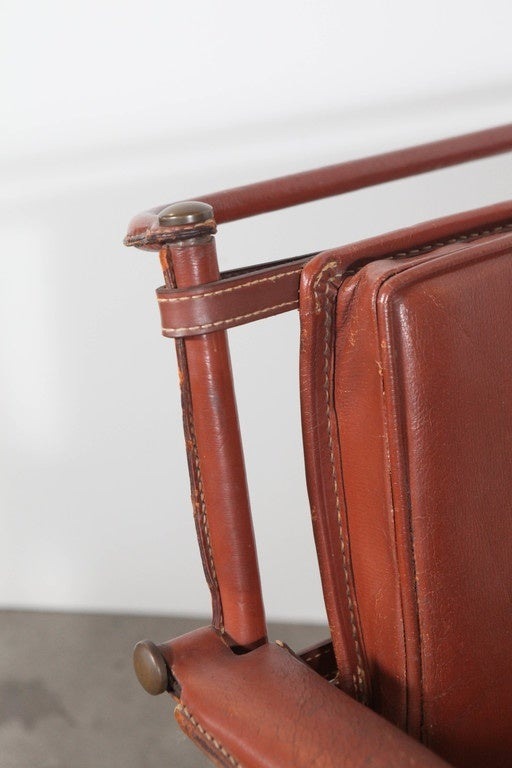 Jacques Adnet armchair leather belt strap provenance: Billy Wilder, 1950s.