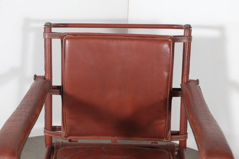 Jacques Adnet Armchair In Distressed Condition For Sale In Los Angeles, CA