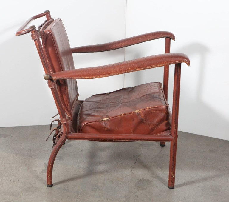 Mid-20th Century Jacques Adnet Armchair For Sale