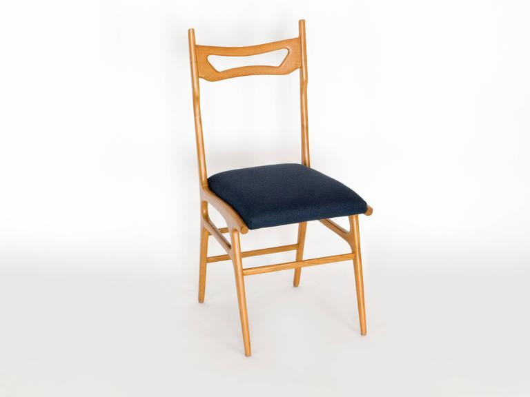Elm Set of Six Italian Dining Chairs For Sale
