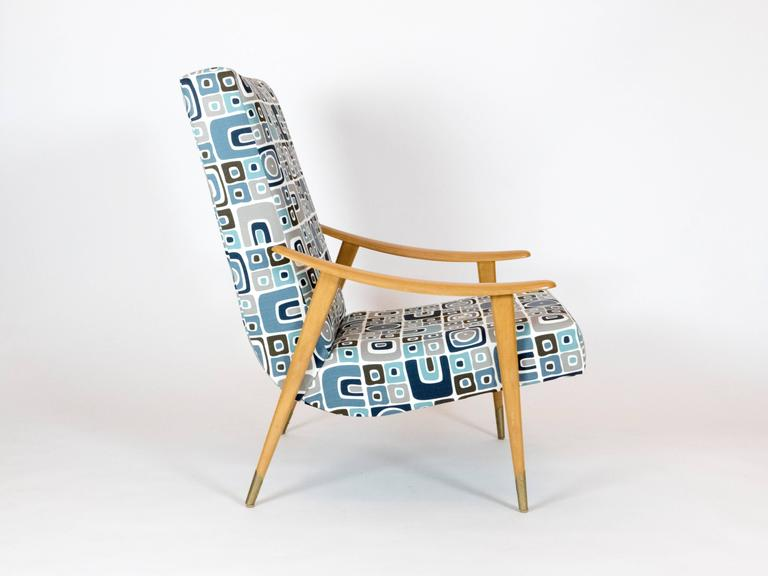 Mid-Century Modern Pair of French Mid-Century Armchairs For Sale
