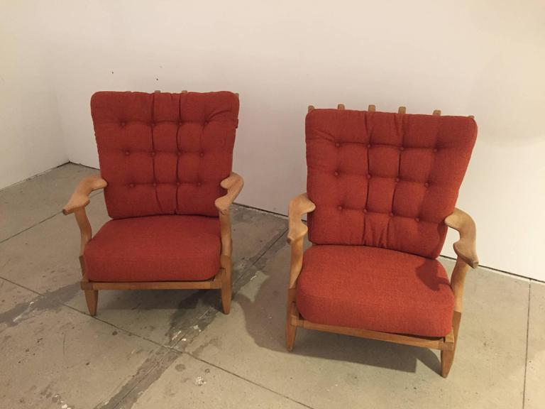 This pair of the signature chairs by Guillerme et Chambron are in perfect condition. New upholstery, reminiscent of the period. Solid frames.