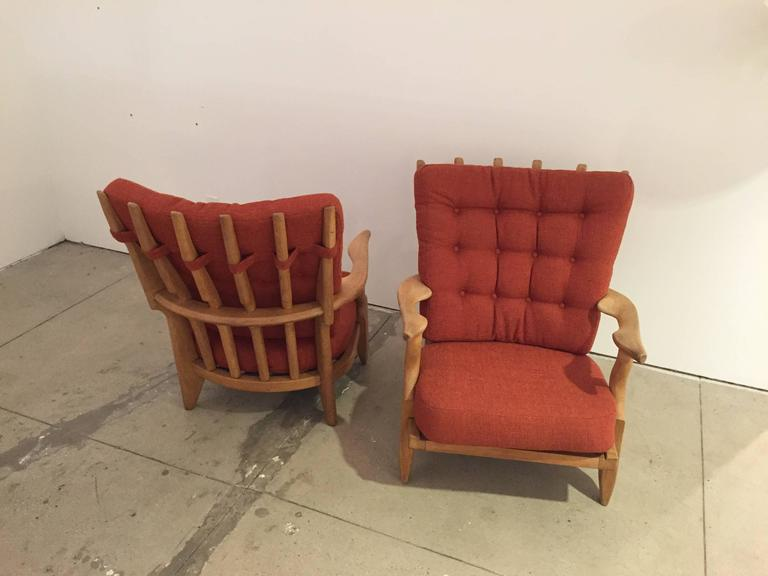 Mid-20th Century Pair of Armchairs by Guillerme et Chambron For Sale