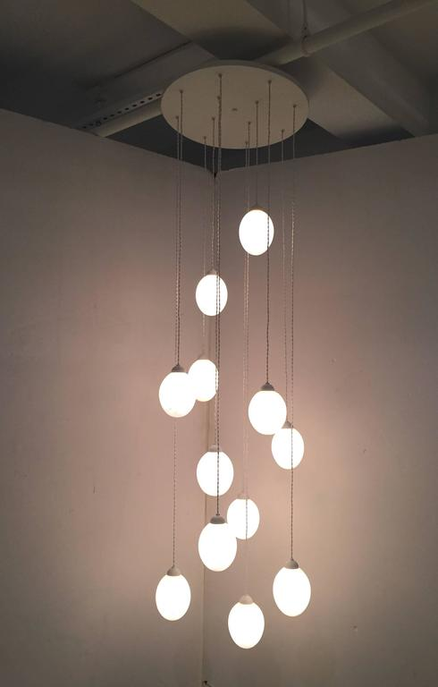 American Belleville Chandelier, White, Round Model For Sale