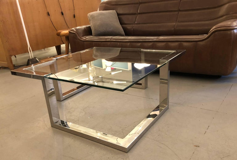 Glass 1970 Modernist Coffee Table For Sale