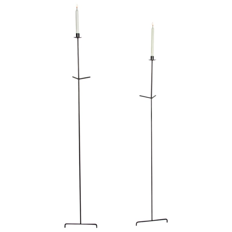 Font Albe Wall Sconces, Oxidized Finish, Taper Candle Model For Sale
