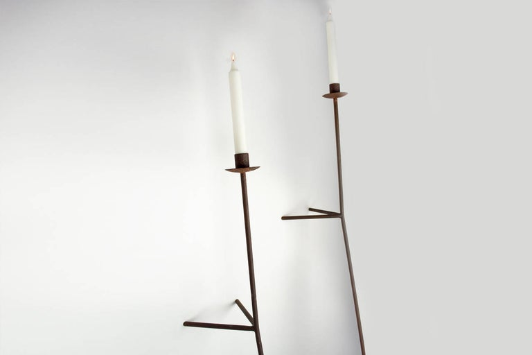 Contemporary Font Albe Wall Sconces, Oxidized Finish, Taper Candle Model For Sale
