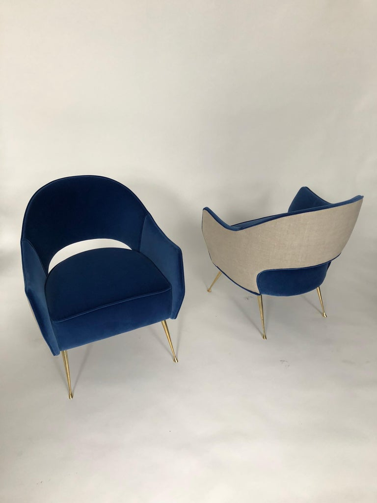 Linen Pair of Briance Chairs by Bourgeois Boheme Atelier For Sale