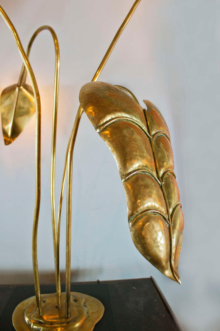 Mid-Century Modern Brass Table Lamp by Maison Charles For Sale