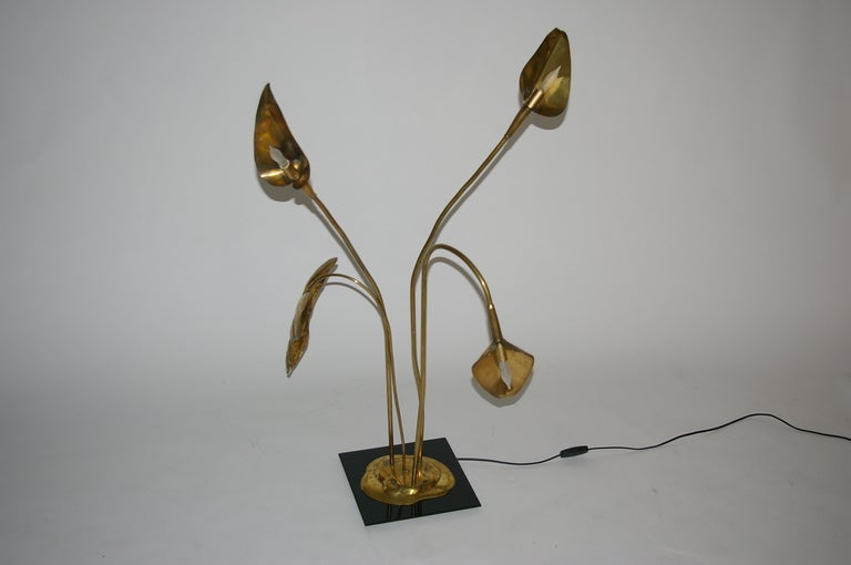Mid-20th Century Brass Table Lamp by Maison Charles For Sale