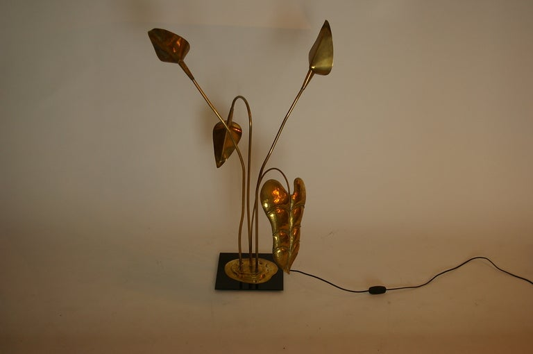 Brass Table Lamp by Maison Charles For Sale 1