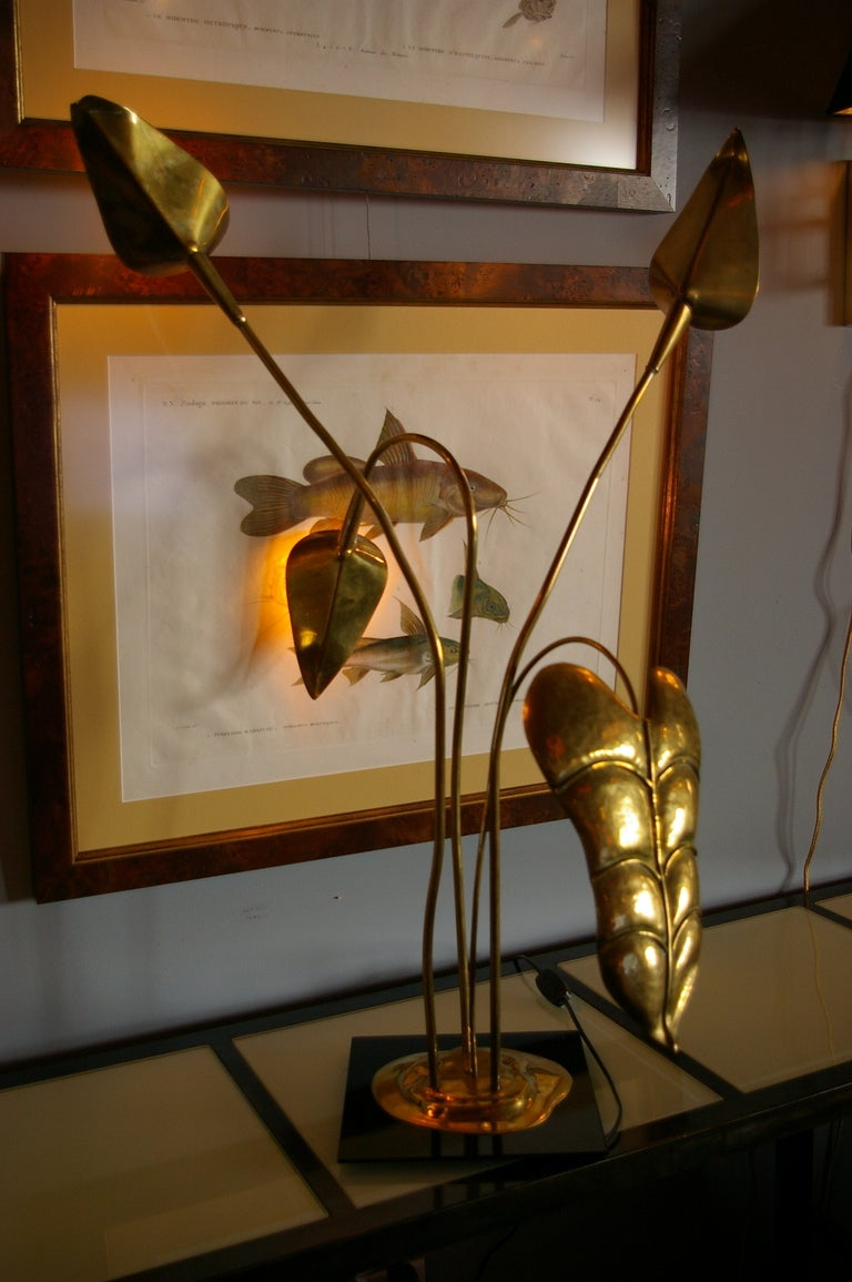 Brass Table Lamp by Maison Charles For Sale 2