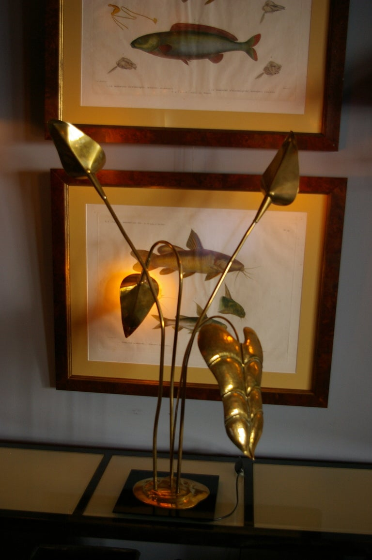 Brass Table Lamp by Maison Charles For Sale 3