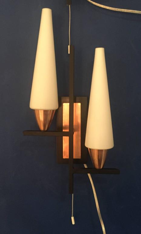 Mid-20th Century Pair of Mid-Century Wall Sconces For Sale