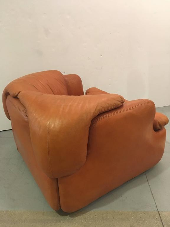 One leather armchair designed by the Alberto Rosselli. The chair is so inviting, so comfortable and in great shape for it age. The unique design of the cushions which nestle in the frame make it a work of art. The leather is in great shape with no