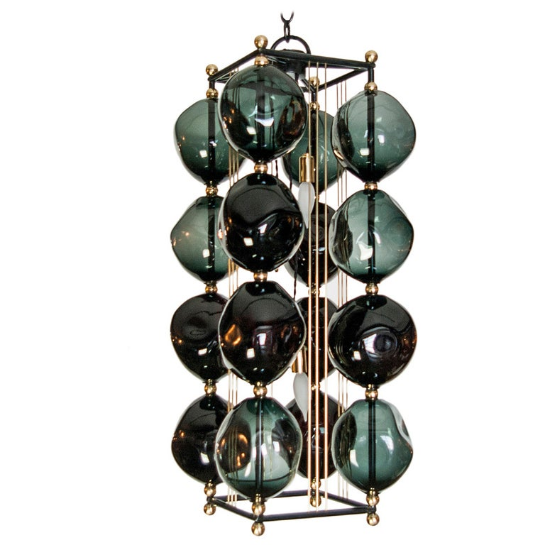 Opera Prima Chandelier with Black Glass by Bourgeois Boheme Atelier For Sale