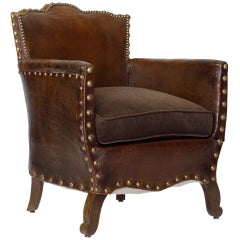 French Library Leather Armchair with Velvet Cushion