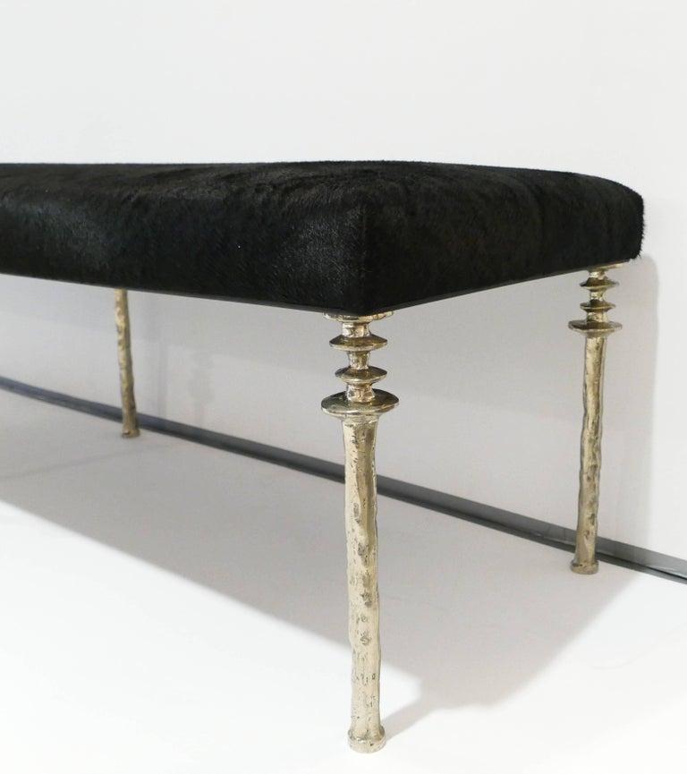 Contemporary Sorgue Bench-White Bronze Legs For Sale