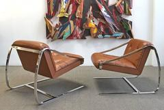 """1970s - Pair of Steel and Leather """"Plaza"""" Lounge Chairs by Brueton"""