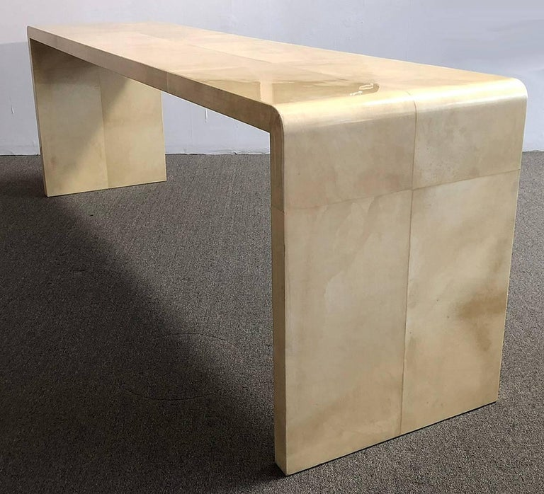 American Karl Springer Parchment Console Table For Sale