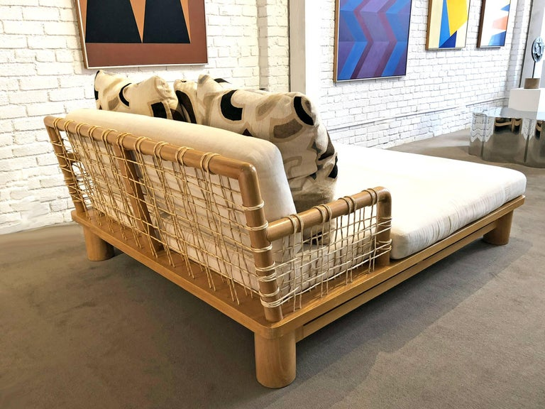 Leather Karl Springer Double Chaise Lounge For Sale