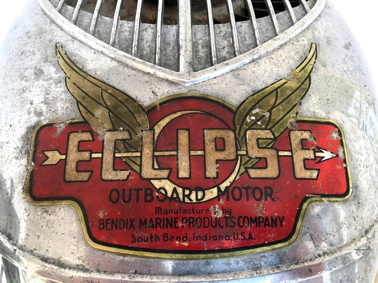 American machine age outboard motor. Eclipse, manufactured by Bendix Marine Products Company. South Bend, Indiana, U.S.A. Stand included with purchase. As shown 39