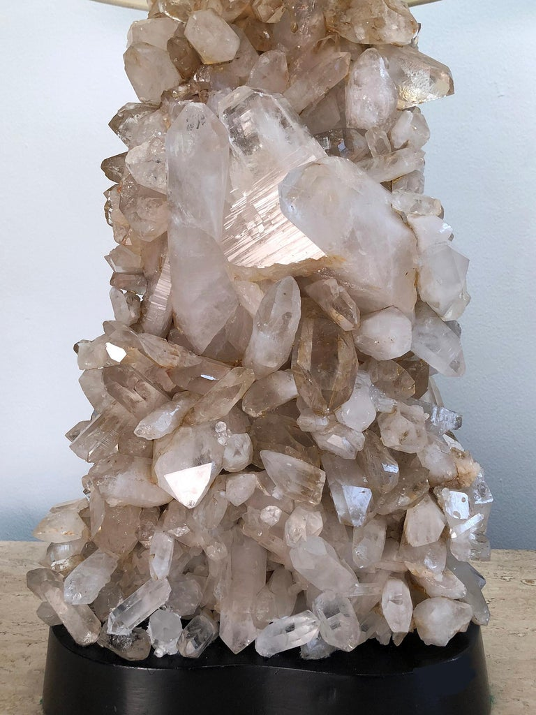 Hand-Crafted Carole Stupell Quartz Crystal Lamp For Sale