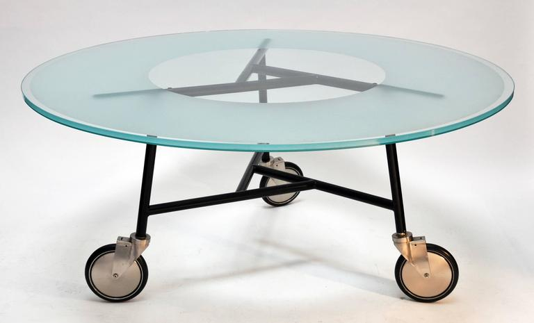 Ward Bennett, Glass Table on Wheels 3