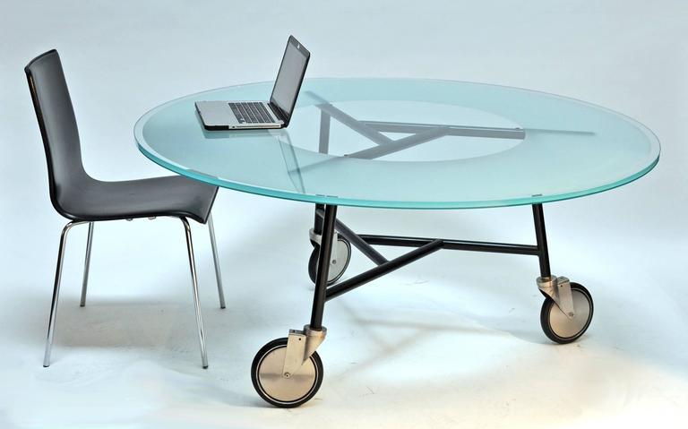 Ward Bennett, Glass Table on Wheels 4