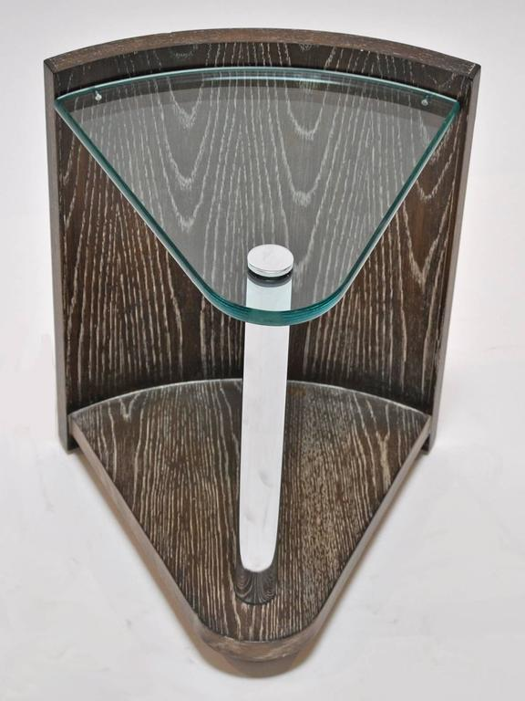 Jay Spectre Table Cerused Oak, Polished Steel and Glass 3