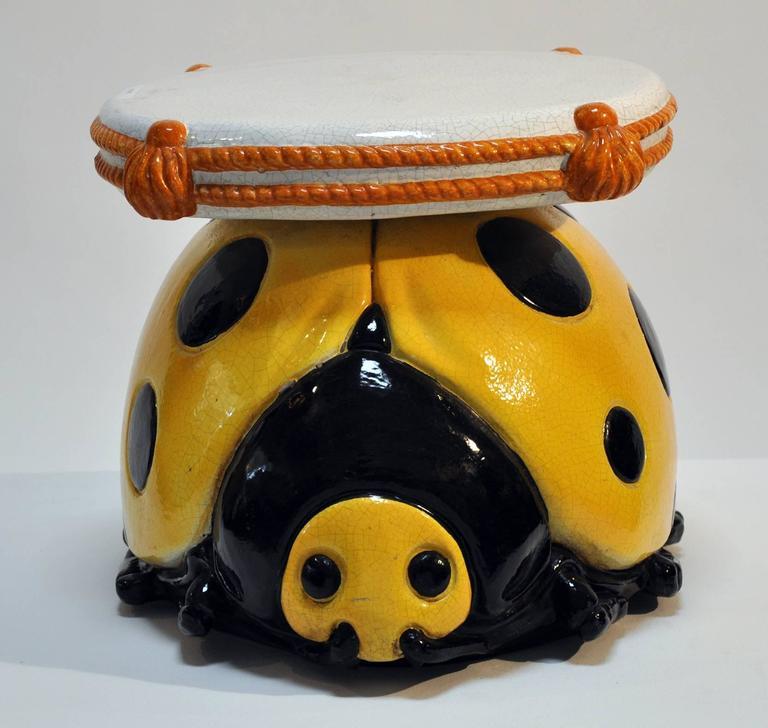 Italian Glazed Ceramic Ladybug Stool Table At 1stdibs