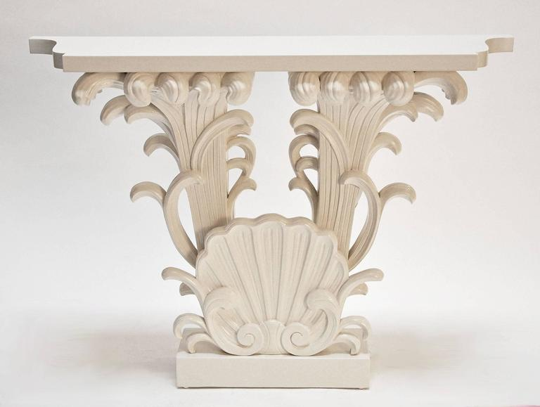 Hollywood Regency Grosfeld House, Carved and Lacquered Wood Console, 1942 For Sale