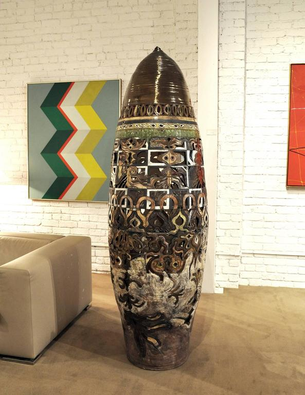 Hand-Crafted William Attaway, Massive Glazed Ceramic Sculpture For Sale