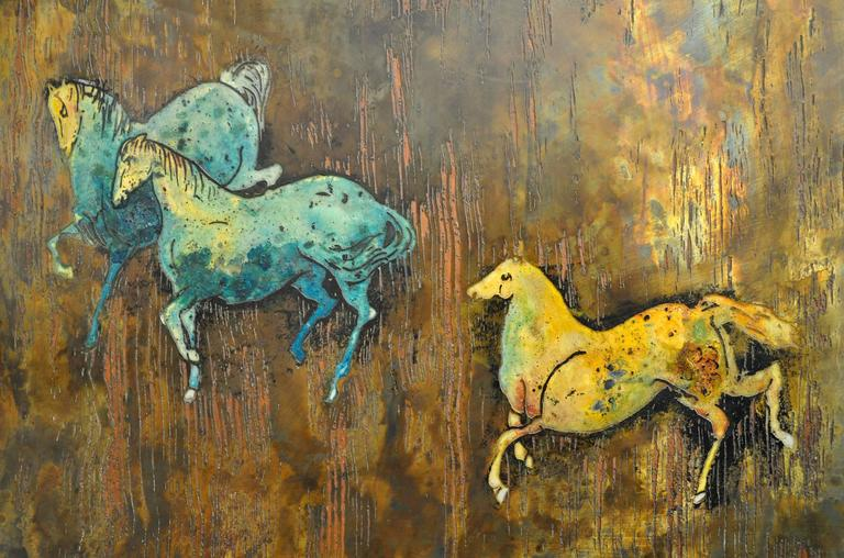 Mid-Century Modern Large Signed Philip and Kelvin LaVerne Bronze Wall Art For Sale