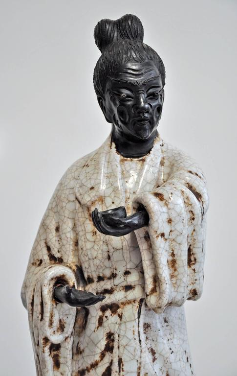 Mid-Century Modern Marcello Fantoni, 1950s, Italian, Pair of Ceramic Figures For Sale